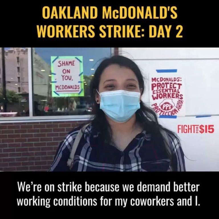 Lavoratori di McDonald's in sciopero ad Oakland